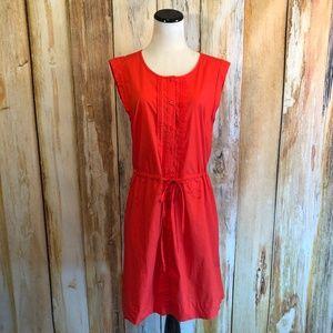 Red Gap Cotton Shift Dress Drawstring Waist L NWT